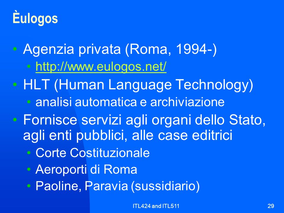 Agenzia privata (Roma, 1994-) HLT (Human Language Technology)