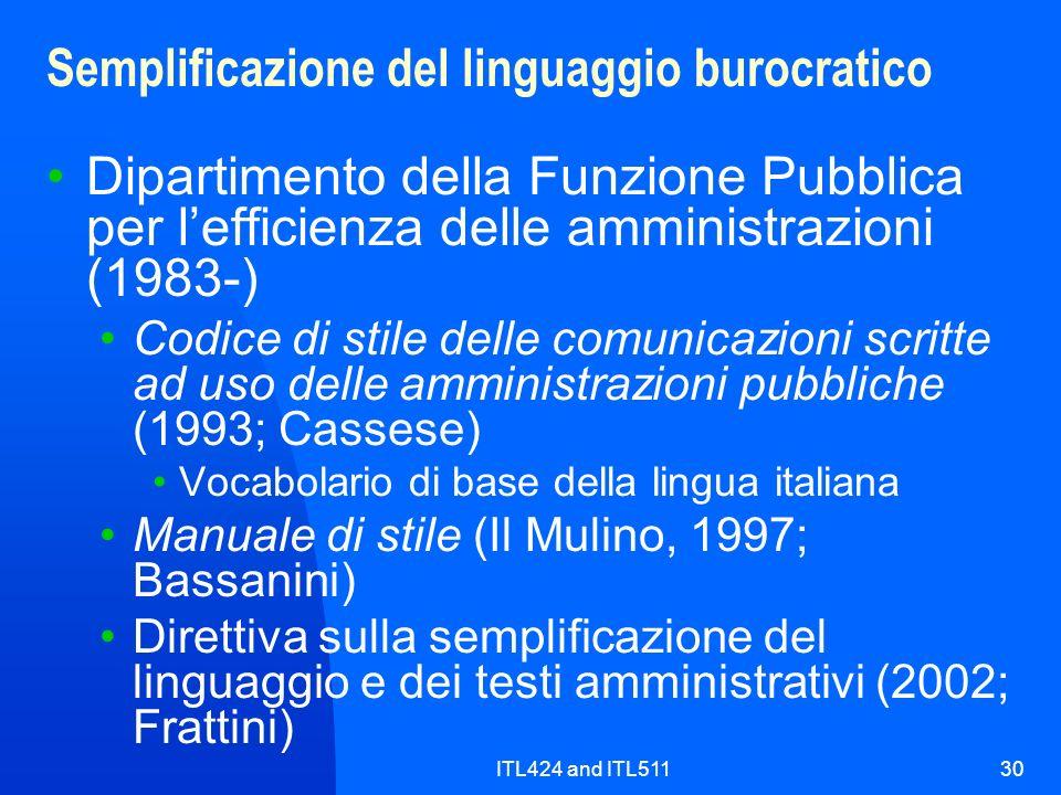 Semplificazione del linguaggio burocratico
