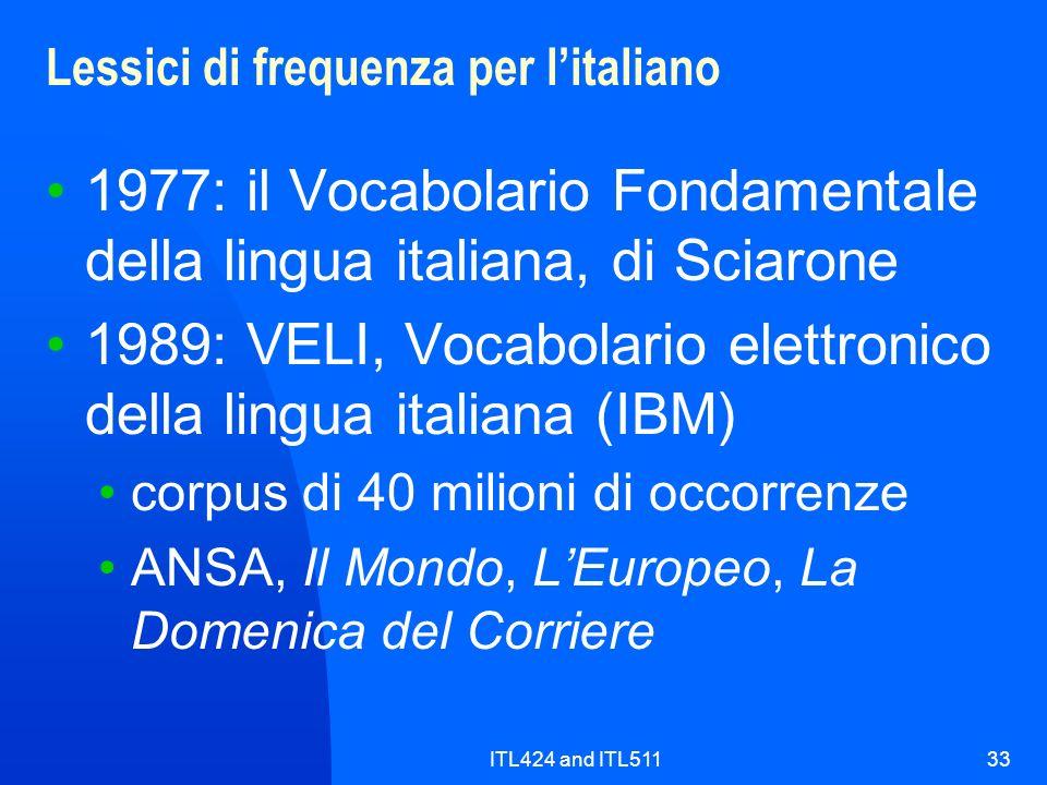 Lessici di frequenza per l'italiano