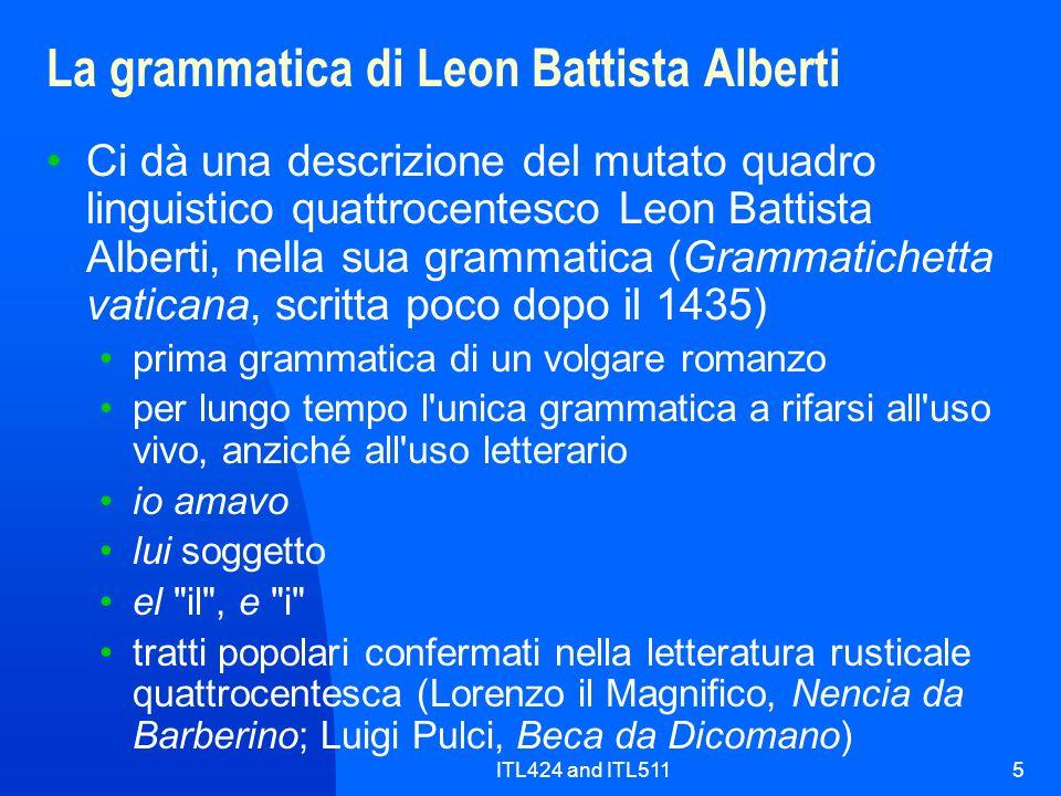 La grammatica di Leon Battista Alberti