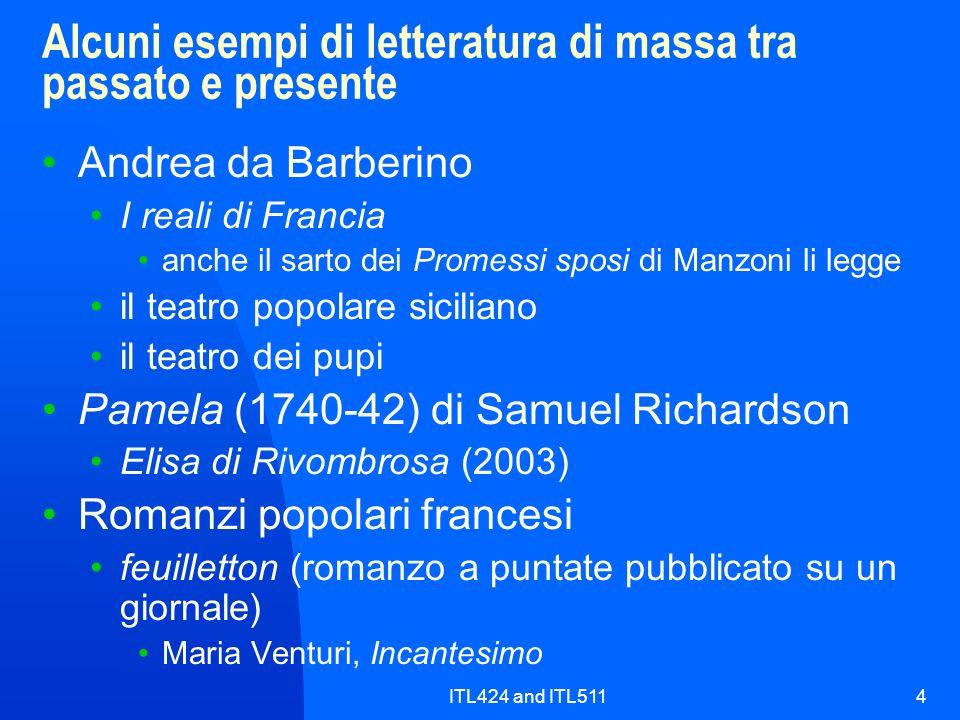 Alcuni esempi di letteratura di massa tra passato e presente
