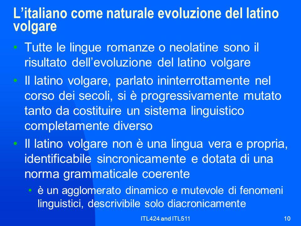 L'italiano come naturale evoluzione del latino volgare