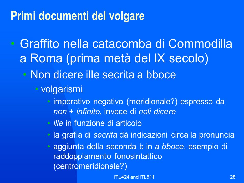 Primi documenti del volgare