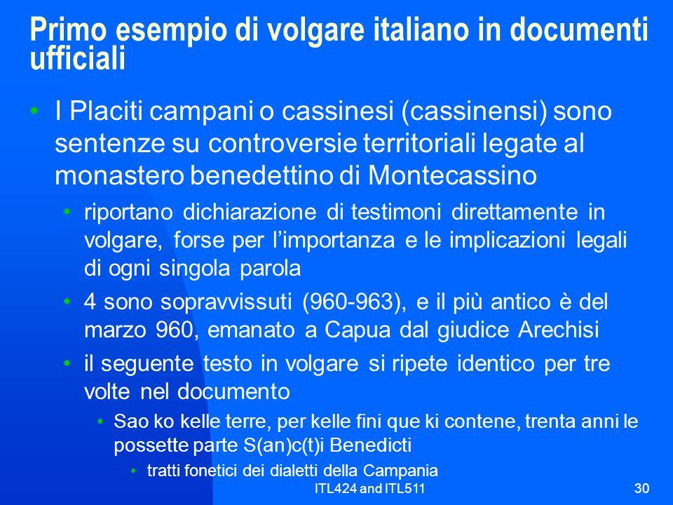 Primo esempio di volgare italiano in documenti ufficiali