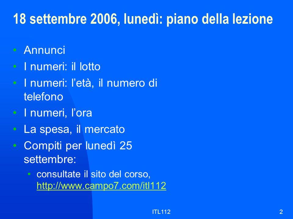 18 settembre 2006, lunedì: piano della lezione