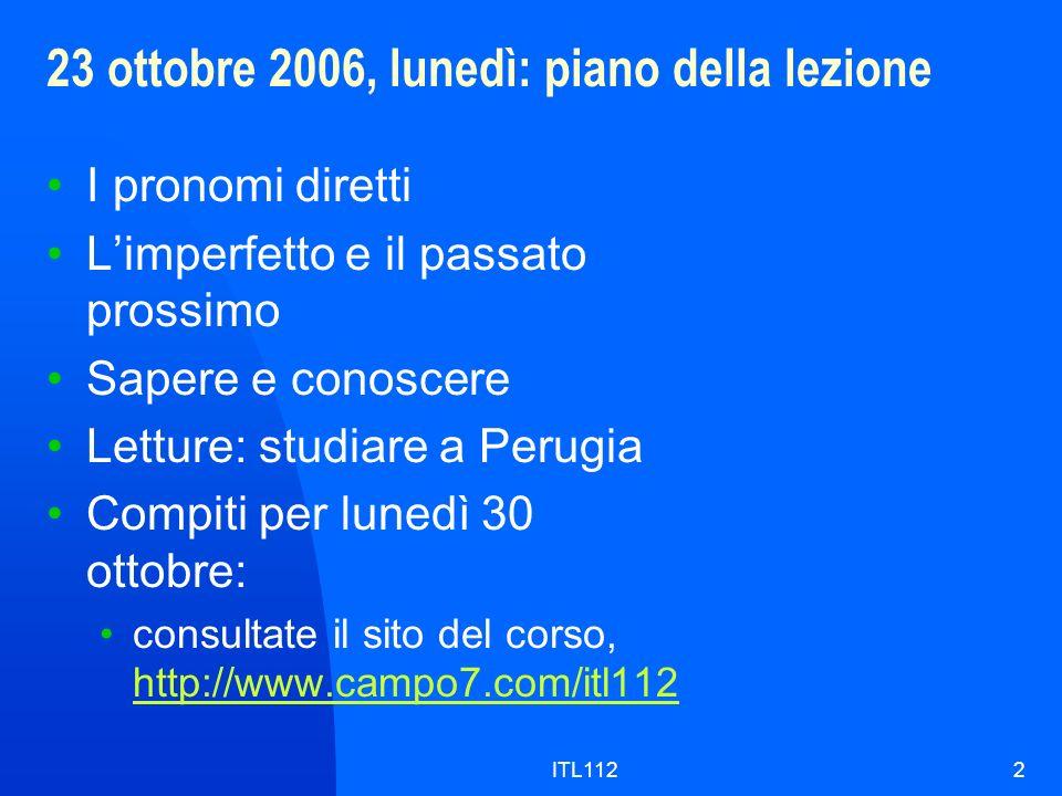 23 ottobre 2006, lunedì: piano della lezione