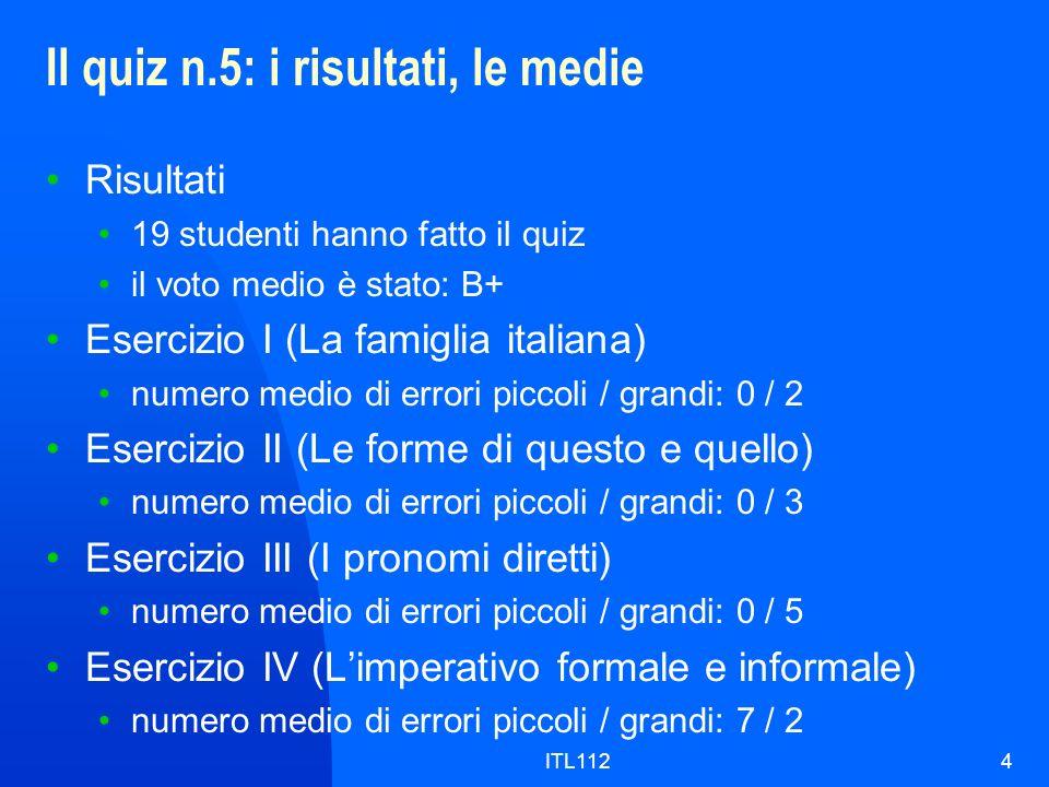 Il quiz n.5: i risultati, le medie