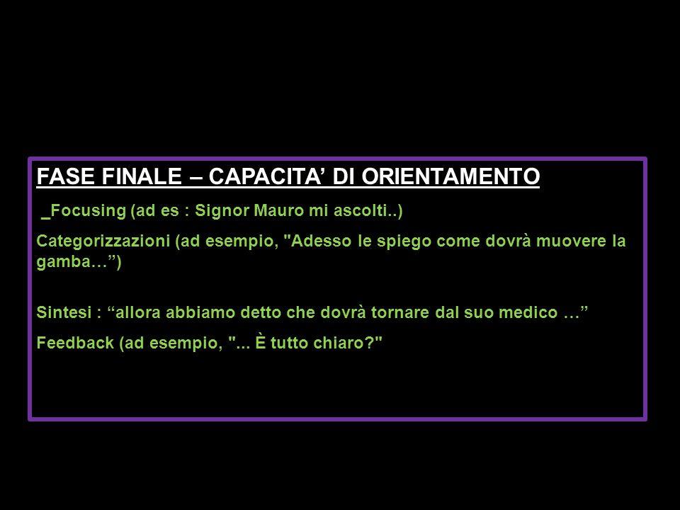 FASE FINALE – CAPACITA' DI ORIENTAMENTO