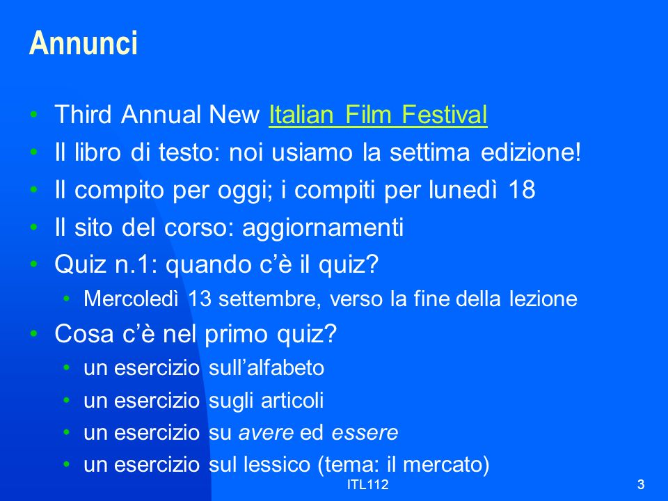 Annunci Third Annual New Italian Film Festival