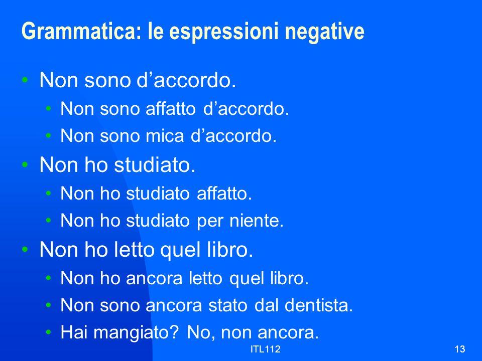 Grammatica: le espressioni negative