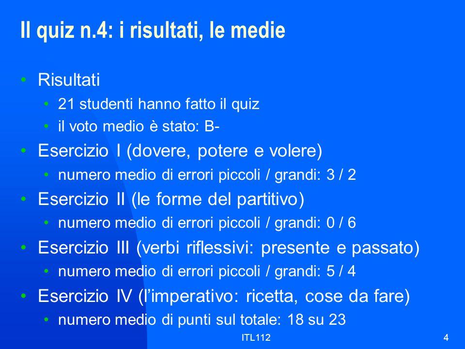 Il quiz n.4: i risultati, le medie