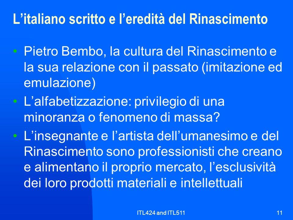L'italiano scritto e l'eredità del Rinascimento