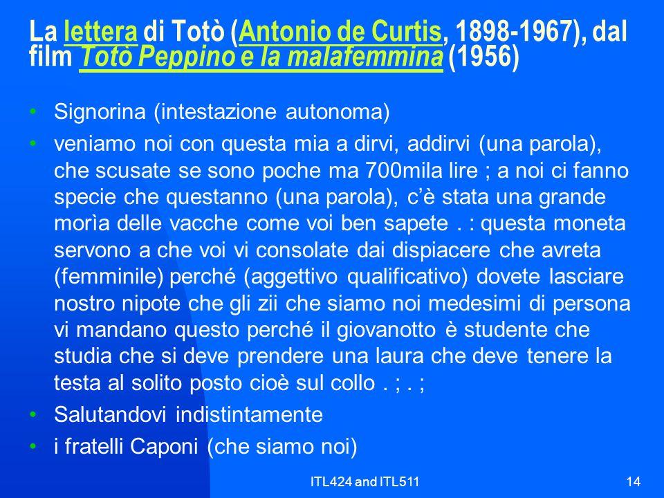La lettera di Totò (Antonio de Curtis, 1898-1967), dal film Totò Peppino e la malafemmina (1956)