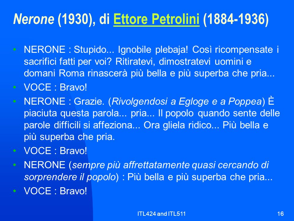 Nerone (1930), di Ettore Petrolini (1884-1936)