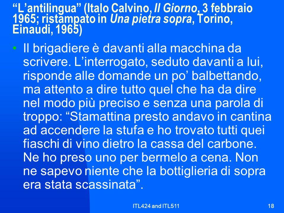 L'antilingua (Italo Calvino, Il Giorno, 3 febbraio 1965; ristampato in Una pietra sopra, Torino, Einaudi, 1965)