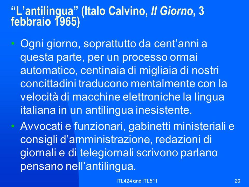 L'antilingua (Italo Calvino, Il Giorno, 3 febbraio 1965)