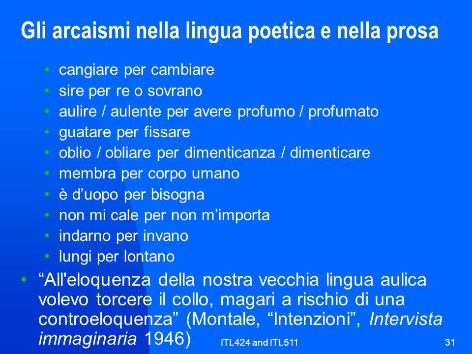 Gli arcaismi nella lingua poetica e nella prosa