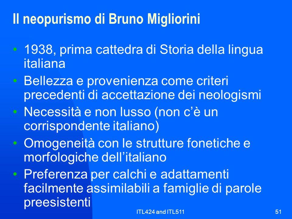 Il neopurismo di Bruno Migliorini