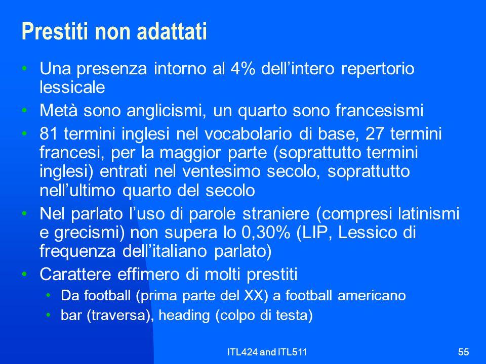 Prestiti non adattati Una presenza intorno al 4% dell'intero repertorio lessicale. Metà sono anglicismi, un quarto sono francesismi.