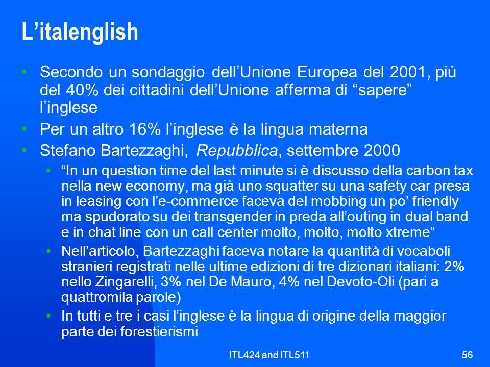 L'italenglishSecondo un sondaggio dell'Unione Europea del 2001, più del 40% dei cittadini dell'Unione afferma di sapere l'inglese.