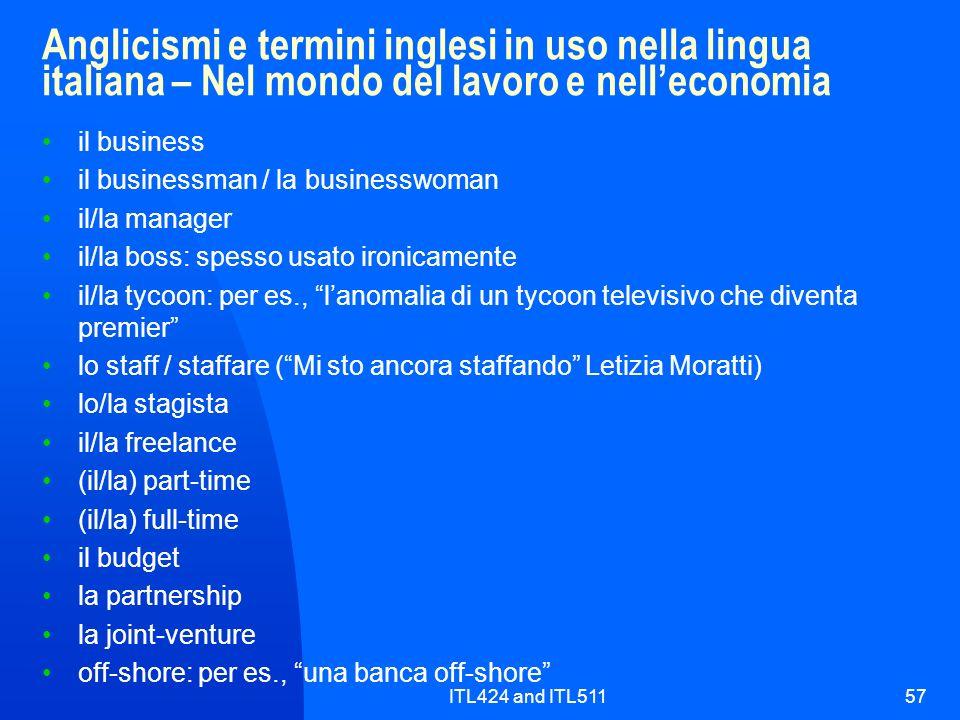 Anglicismi e termini inglesi in uso nella lingua italiana – Nel mondo del lavoro e nell'economia