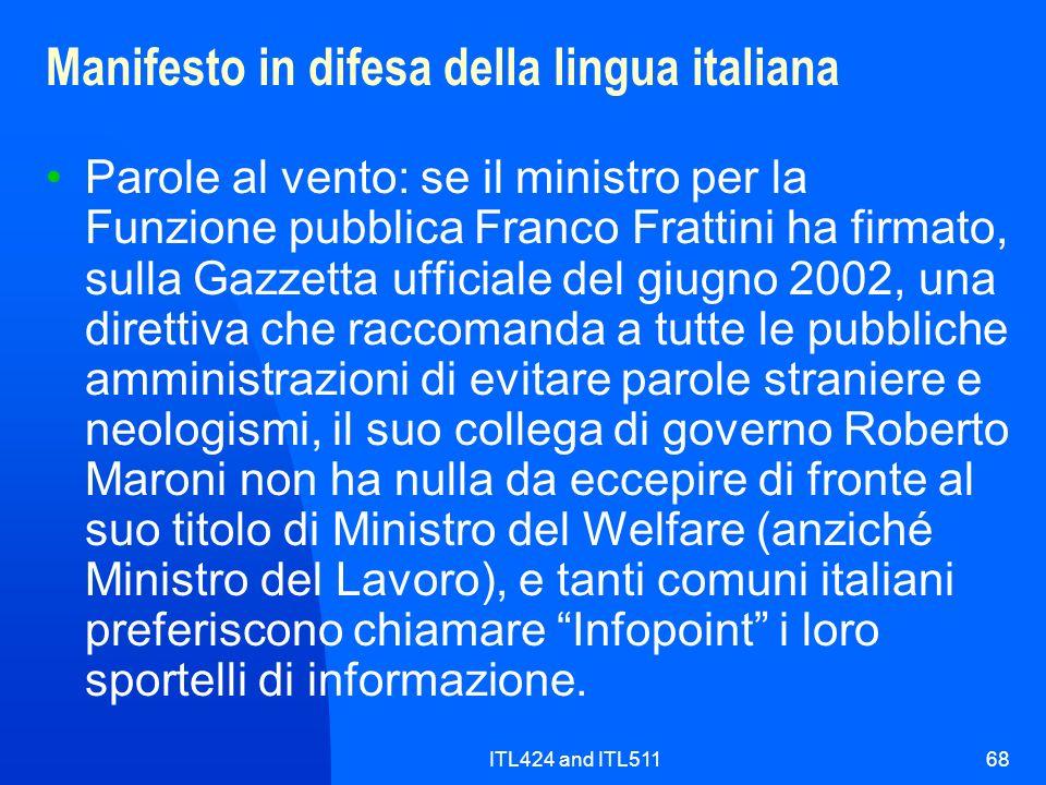 Manifesto in difesa della lingua italiana
