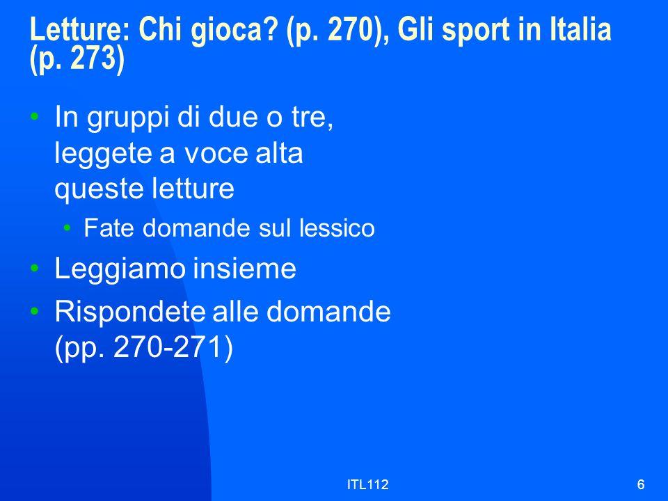 Letture: Chi gioca (p. 270), Gli sport in Italia (p. 273)