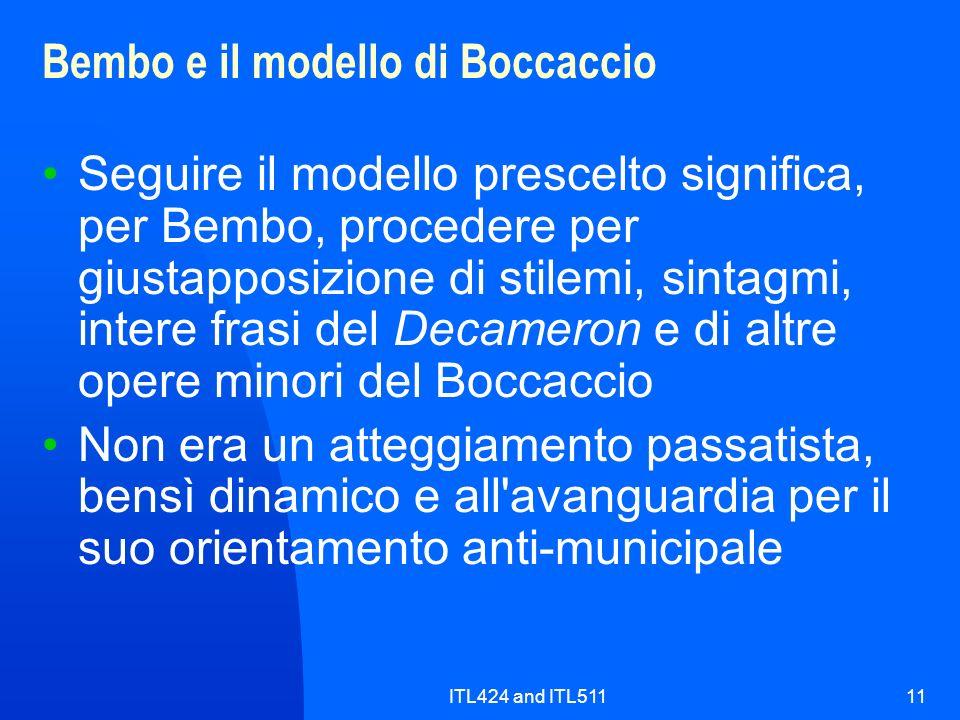 Bembo e il modello di Boccaccio