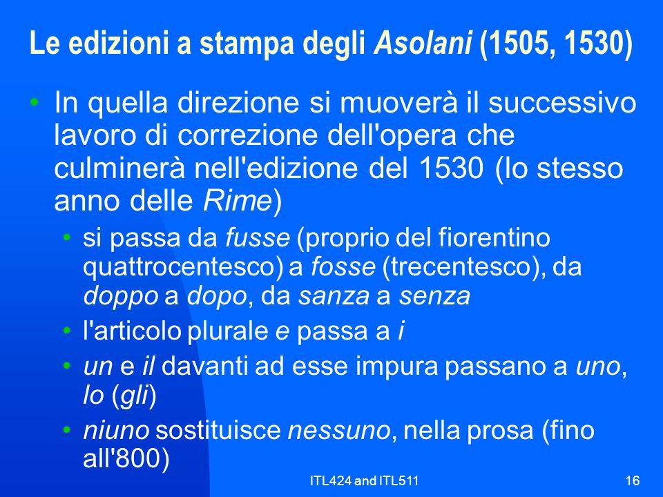 Le edizioni a stampa degli Asolani (1505, 1530)