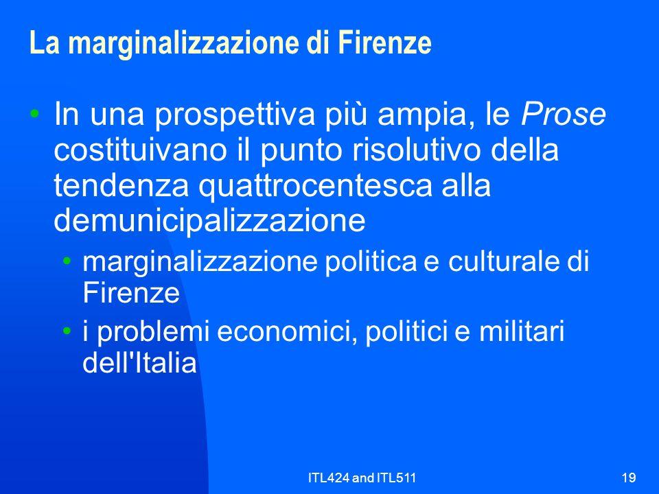 La marginalizzazione di Firenze