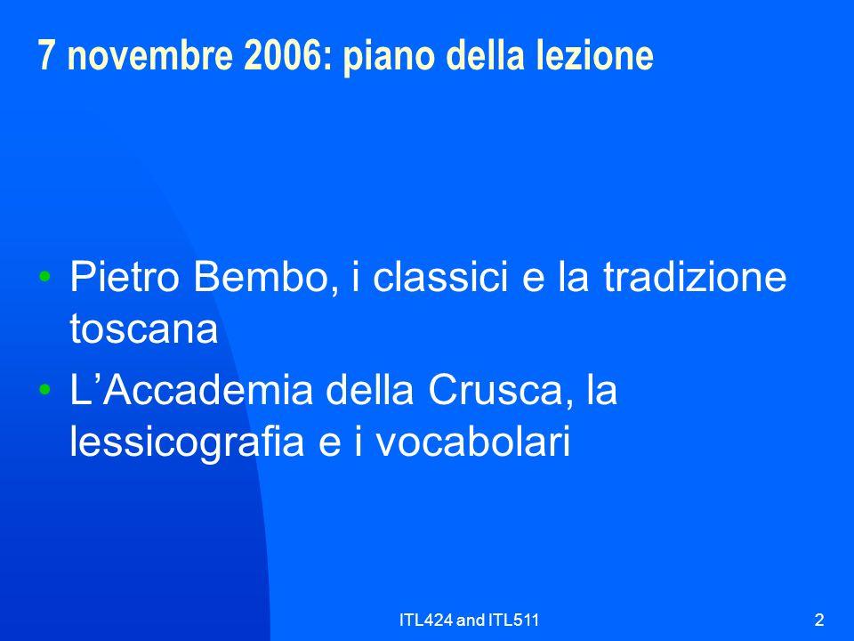 7 novembre 2006: piano della lezione