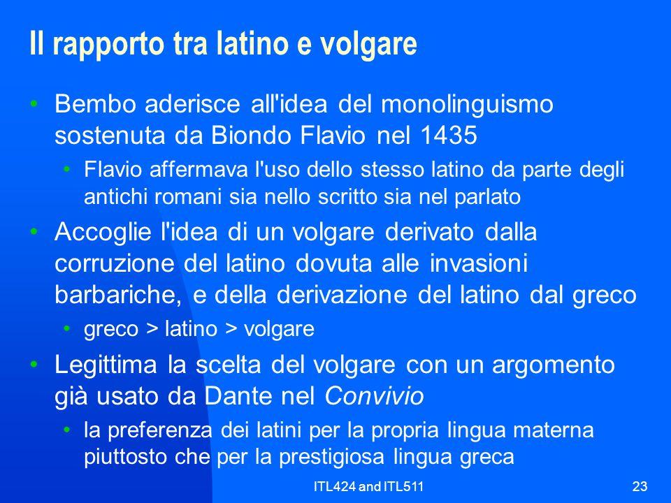 Il rapporto tra latino e volgare