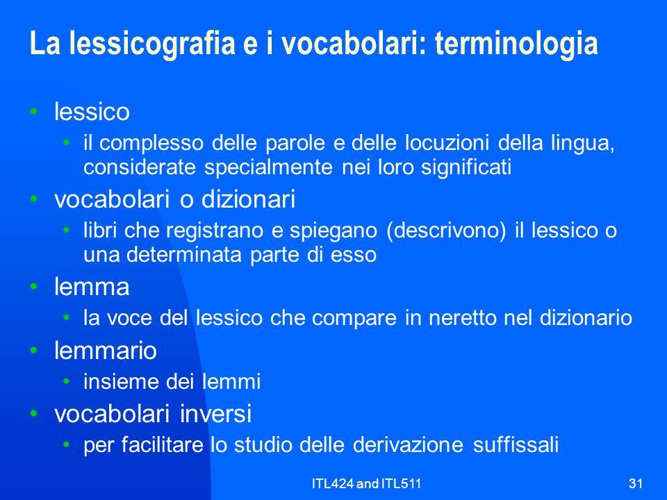 La lessicografia e i vocabolari: terminologia