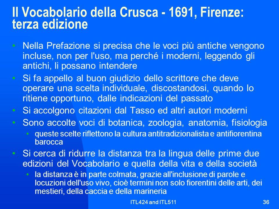 Il Vocabolario della Crusca - 1691, Firenze: terza edizione