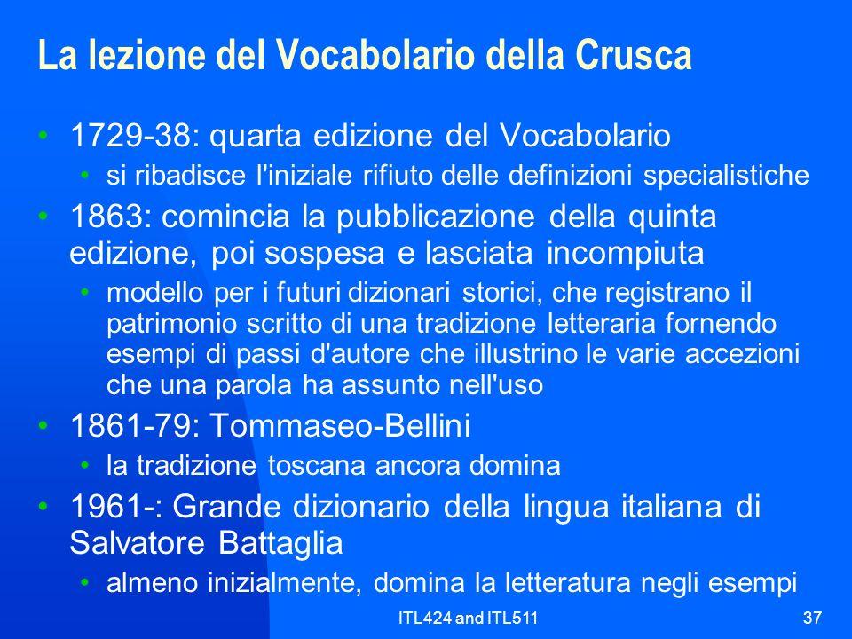 La lezione del Vocabolario della Crusca