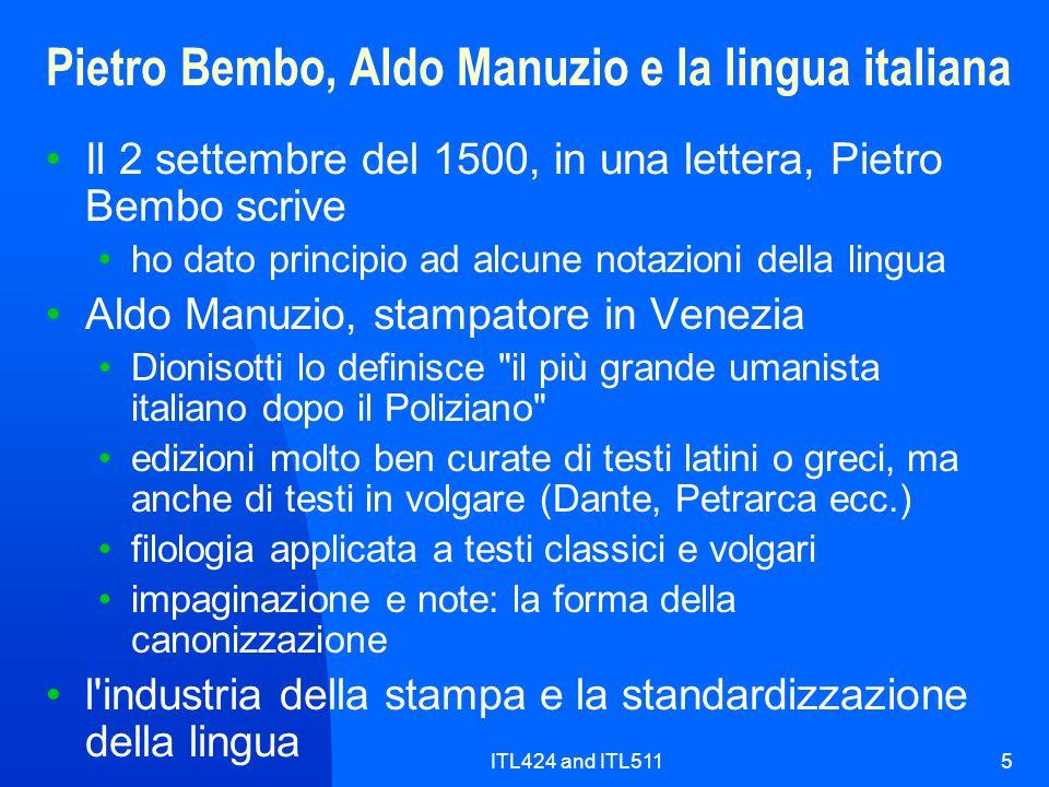 Pietro Bembo, Aldo Manuzio e la lingua italiana