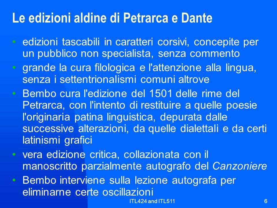 Le edizioni aldine di Petrarca e Dante