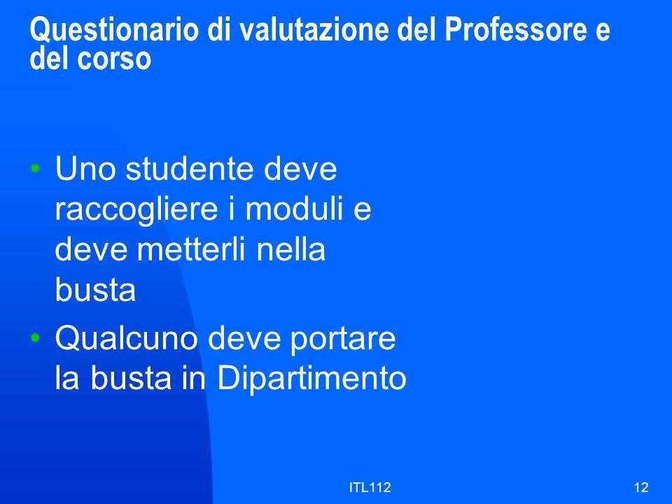 Questionario di valutazione del Professore e del corso