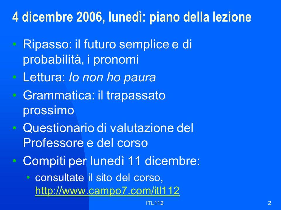 4 dicembre 2006, lunedì: piano della lezione