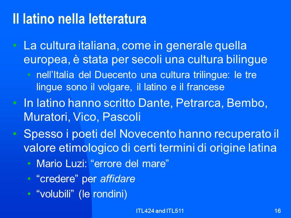 Il latino nella letteratura