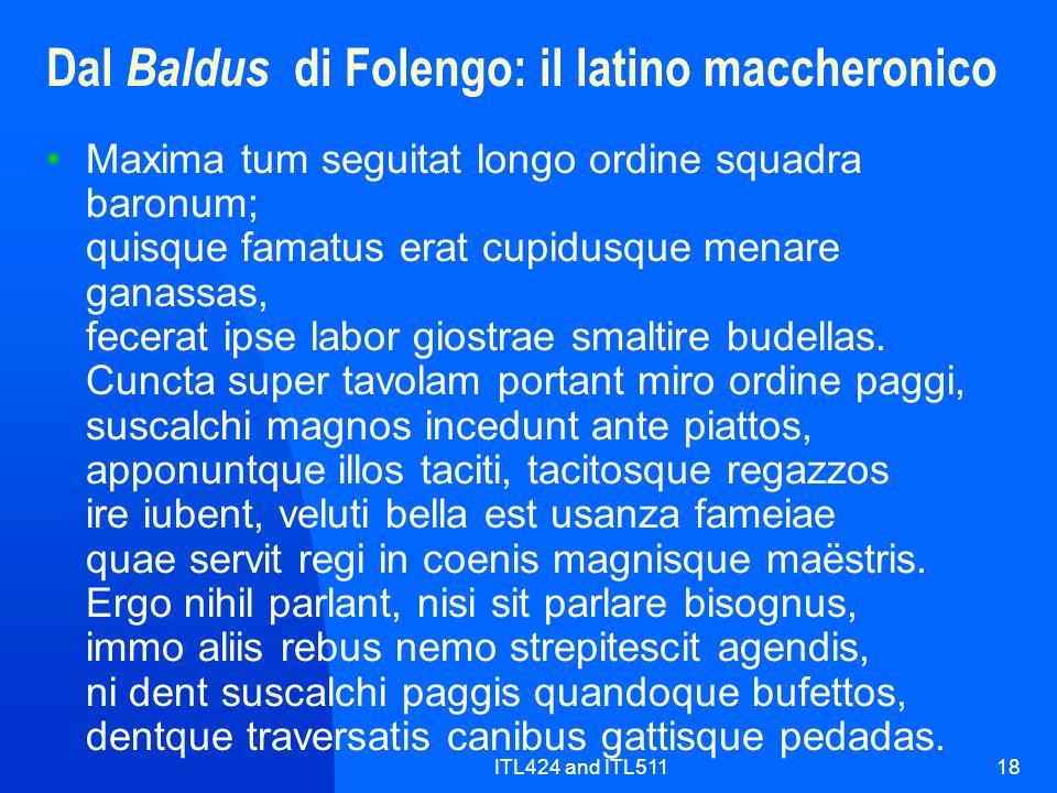 Dal Baldus di Folengo: il latino maccheronico