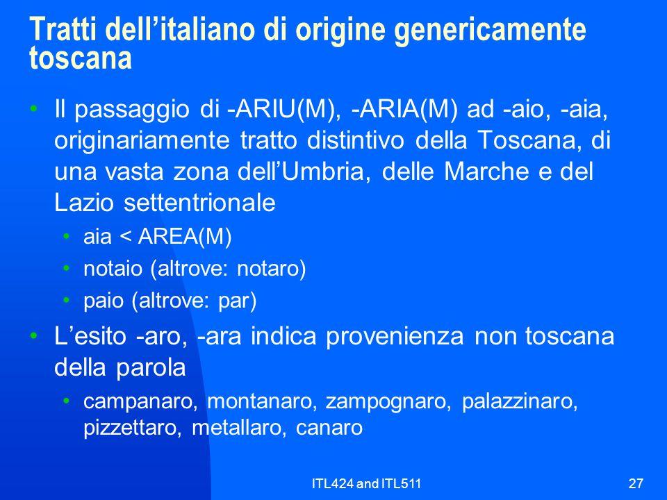 Tratti dell'italiano di origine genericamente toscana