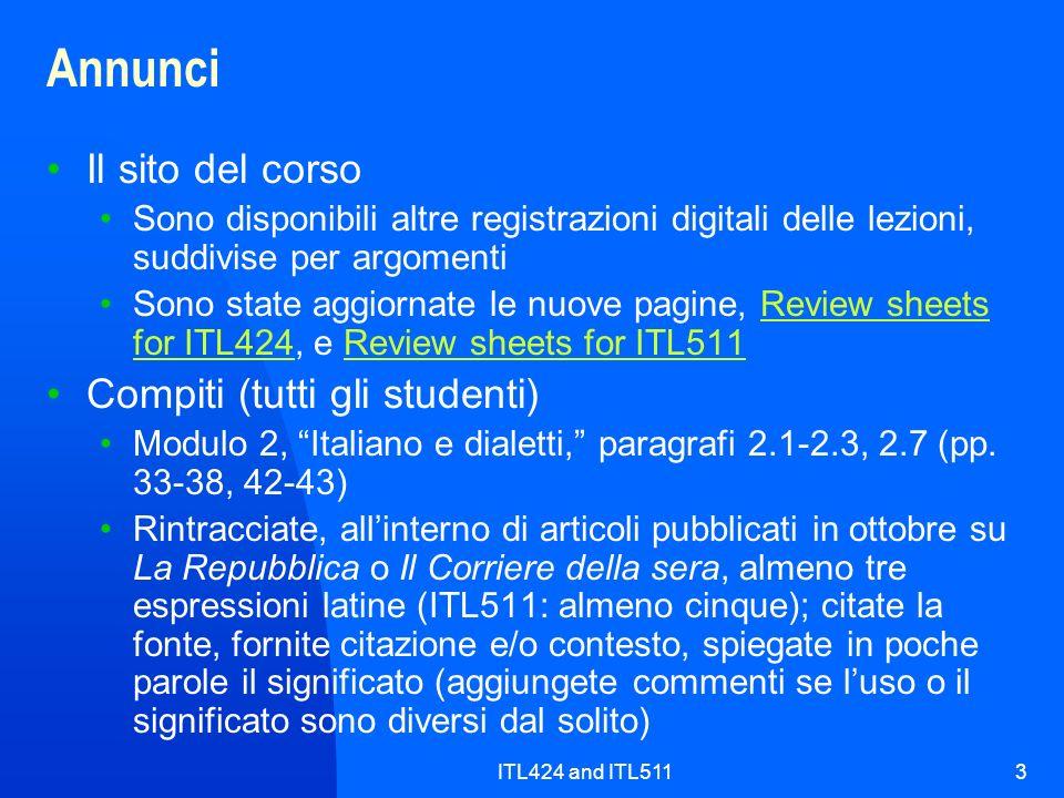 Annunci Il sito del corso Compiti (tutti gli studenti)