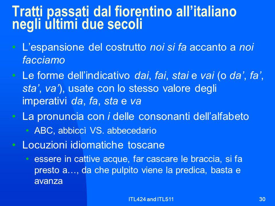 Tratti passati dal fiorentino all'italiano negli ultimi due secoli