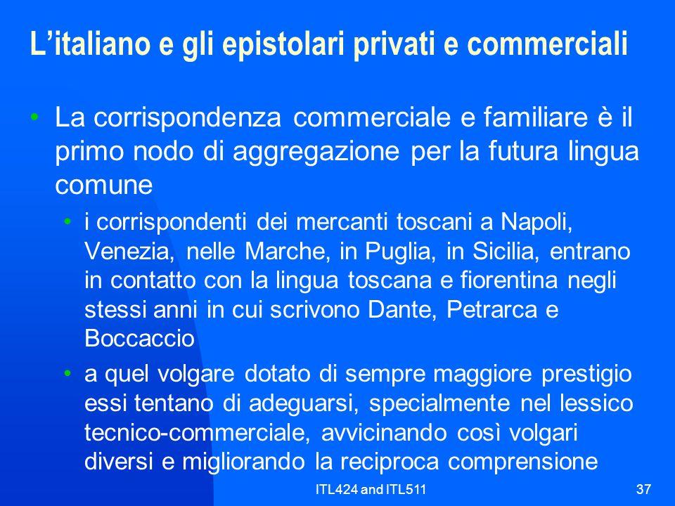 L'italiano e gli epistolari privati e commerciali
