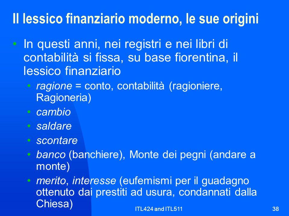 Il lessico finanziario moderno, le sue origini