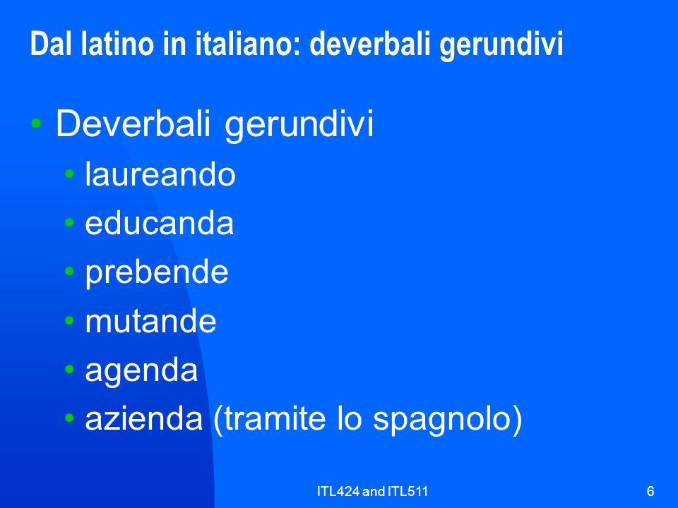 Dal latino in italiano: deverbali gerundivi