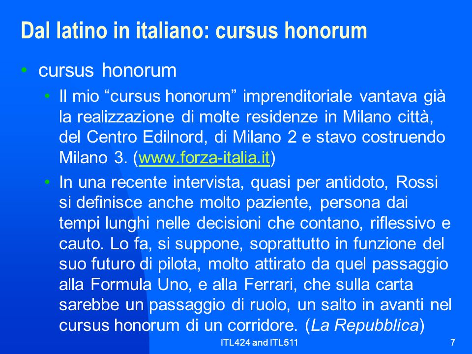 Dal latino in italiano: cursus honorum