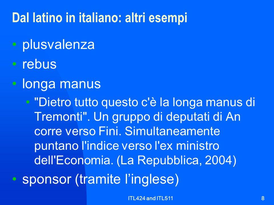 Dal latino in italiano: altri esempi