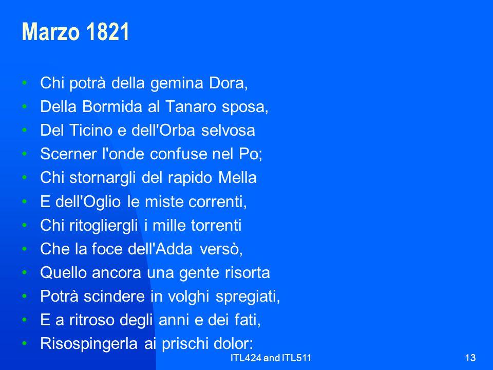 Marzo 1821 Chi potrà della gemina Dora, Della Bormida al Tanaro sposa,
